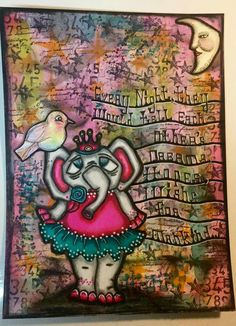 Delores Miller on THE DYAN REAVELEY ART JOURNALING Gateway FB Group.  Used Dylusions Paints,  ink sprays , stencils. Image by Sandra Caldwell #491 Ballerina Ellie.