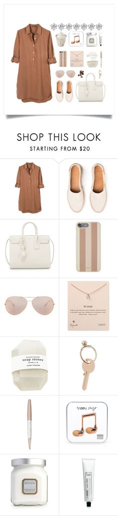 """""""Summer Shirt Dress"""" by thedailywear ❤ liked on Polyvore featuring United by Blue, Yves Saint Laurent, Michael Kors, Oliver Peoples, Dogeared, Maison Margiela, Swarovski, Happy Plugs, Laura Mercier and L:A Bruket"""