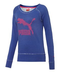 Look at this #zulilyfind! Spectrum Blue & Heather French Terry Crew Neck Sweatshirt #zulilyfinds