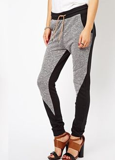 Grey Patchwork Mid Waist Loose Cotton Blend Pants - These are the only sweatpants on my wishlist!