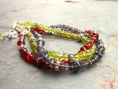 Iolite Bracelet Beaded Blue Stacking Gemstone by AeridesDesigns, $77.00