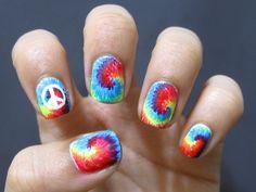 casebykasenails:  Tiedye nails! <3~ Tutorial coming soon.