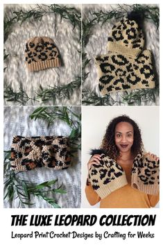 The Luxe Leopard Collection - Crafting for Weeks Crochet Stitches, Crochet Patterns, Knitting Patterns, Knitting Tutorials, Hat Patterns, Stitch Patterns, Free Crochet, Knit Crochet, Crochet Winter