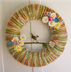 i really like wreaths -for Dawn G. love the colors in this one! Bird Crafts, Fun Crafts, Diy And Crafts, Paper Crafts, Flower Box Gift, Flower Boxes, Flowers, Mobiles, Easter Wreaths