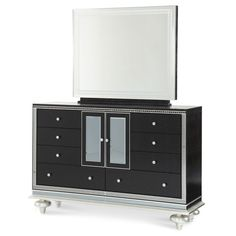 AICO Hollywood Swank Starry Night Upholstered Dresser w/ Mirror AI-03051-60-81 $2938.00