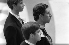 Prince Edward. Prince Charles. Prince Andrew await the arrival of Lady Diana Spencer on her wedding day to Charles.