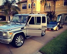 G Wagon and Lamborghini in the driveway. #cars