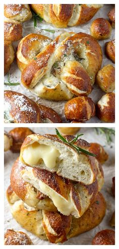Mozzarella Stuffed Rosemary and Parmesan Soft Pretzels - Baker by Nature