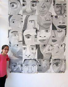 Upper School Art (Grades 7-12): Grade 8 monochromatic cropped self portraits