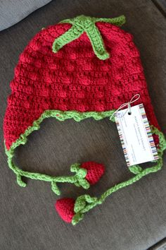 Here's a free pattern for a little crochet strawberry hat!  Cute right?  Source: Knotty Knotty Crochet