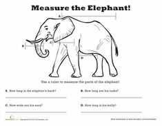 Worksheets: Measure Length: Elephant! they have great worksheets on this site