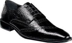 Stacy Adams Men's Garzon Cap Toe Oxford 25028 Black Ostrich Leg/Eelskin Print Leather Size 13 W