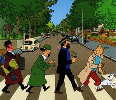 Tin Tin in Abbey Road!! This is so cute Tin Tin is the best Belgian cartoon ever other than the Smurfs!!!!!!