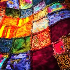 "Flannel Rag Quilt - ""Bilbo's Blanket""  Patterns: Tie Dye, Batik, and Fun Animal Print"