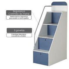 Beliche Com Armário 2 Portas E Escada Lateral Com Gavetas Studio - 100 Mdf Melamina Bp – Azul