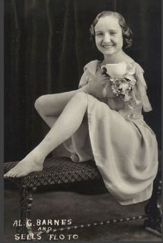 """Frances Belle O'Connor (1914-1982) enjoying a cup of tea in a publicity still from the Al G. Barnes Circus and its Sells Floto sideshow, billed as the """"world's most complete congress of strange people"""""""