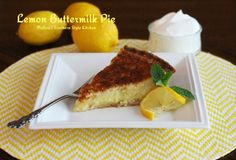 Lemon Buttermilk Pie - Buttermilk pies are really custard pies made with a buttermilk base as opposed to using milk or cream. Buttermilk gives a nice sharp edge to the flavor, and they are among some of the most beloved of Southern pies. Lemon Dessert Recipes, No Cook Desserts, Lemon Recipes, Pie Recipes, Just Desserts, Delicious Desserts, Cooking Recipes, Yummy Food, Melissas Southern Style Kitchen