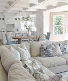 Beach Living Room, Coastal Living Rooms, Condo Living, Living Room Remodel, Living Room Interior, Home Living Room, Living Room Designs, Living Room Decor, Coastal Cottage