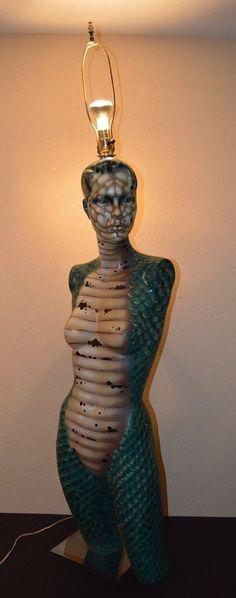 SNAKE LADY LAMP: Huge 46 034 Hand Painted Snake Woman Reptile Lady Floor Lamp Light Sci Fi Art Piece | eBay