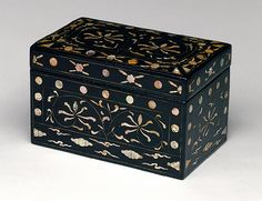 Box with floral decoration. Korean, Joseon dynasty (1392–1910), 18th century. Lacquer with motherof- pearl and tortoiseshell inlay.