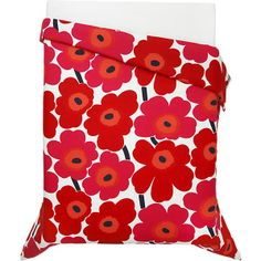 Marimekko Unikko Red Twin Comforter in Bed and Bath | Crate and Barrel