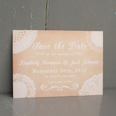 Lace and Vintage Save the Date Card - Rustic Country wedding, Lace doilies, Antique background, Vintage colors