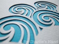 Waves papercut Wave Stencil, Cut Out Canvas, Paper Crafting, Quilling Paper Craft, Paper Cut Design, Beach Quilt, Paper Illustration, Monogram Design, Stencil Patterns