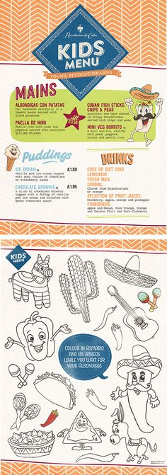 Hand Drawn Illustrations, Kids / Childrens Food Menu, Graphic Design by www.diagramdesign.co.uk