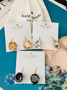 Kate Spade 3paris Earrings bundle Free shipping One ks dustbag No offer There is no price tag on the back of the card. There is no discount. Is already the lowest wholesale price. Kate Spade Earrings, Place Card Holders, Free Shipping, Cards, Maps, Playing Cards