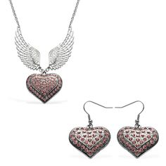 Pink and White Austrian Crystal Angel Wings Earrings and Necklace (18-20 in) in Silvertone and Stainless Steel