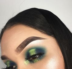 Light green & dark green eye make-up