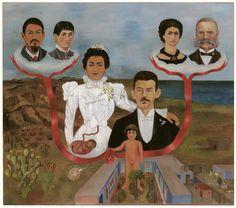 """Frida Kahlo – """"Mis abuelos, mis padres y yo"""" (1936, óleo y témpera sobre cinc, 30 x 340cm, MOMA, Nueva York) Frida Kahlo pintó este cuadro poco después de que Hitler prohibiese en Núremberg los matrimonios interraciales. Al igual que los nazis..."""