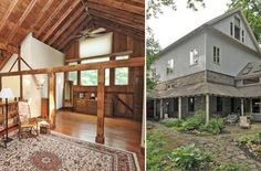 a barn turned into a house!! love the high ceilings and exposed beams