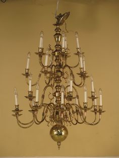 24977e Williamsburg Style 25 Arm Large Brass Chandelier