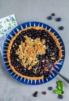 Blaubeer Pie Tarte mit Haferflocken Mandel Granola Crunch Rezept Backrezept…