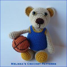 SPORTS Crochet Patterns TEDDY  BEAR BASKETBALL Baby Color Graph Pattern