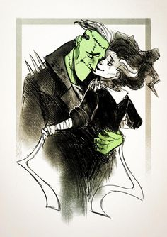 Bride of and Frankenstein by Sarah Harper for Inktober and @Sketch_Dailies