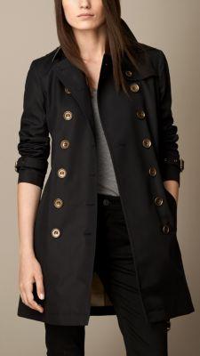 Mid-Length Cotton Poplin Trench Coat