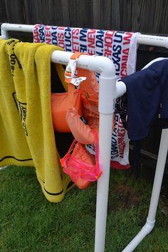 This Girls Life: DIY PVC Pool Towel Rack