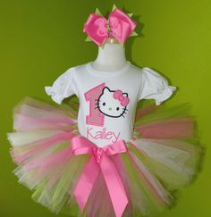 #MC Pink Hello Kitty Birthday Tutu Outfit by PoshBabyStore.com