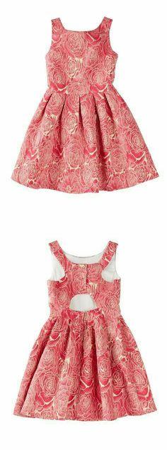 Sonia Sleeveless Metallic Rose Jacquard Back Cutout Pleated Dress (Big Girls) Little Girl Outfits, Little Girl Fashion, Little Girl Dresses, Kids Outfits, Kids Fashion, Baby Girl Dresses, Baby Dress, Cute Dresses, Mode Junior