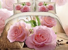 pink rose in bloom printing bedding set, King/Queen Size Cotton Duvet Cover Set 4 Pieces 100 Cotton Duvet Covers, Red Duvet Cover, White Duvet Covers, Duvet Cover Sets, Girls Bedding Sets, Bedding Sets Online, Queen Bedding Sets, Comforter Sets, King Comforter