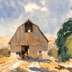 """Mike Kowalski on Instagram: """"I suppose if you've got horses you need to keep 'em somewhere. This watercolor was based on a sketch of an Oregon barn.…"""""""