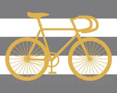 Striped Bicycle Art Print for Nursery, Kids Room or Home Decor - - Mustard Yellow and Grey OR Choose your own colors via Etsy Bicycle Art, Bicycle Design, Bicycle Wheel, 10 Frame, Cycling Art, Mustard Yellow, Home Goods, Baby Boy, Nursery