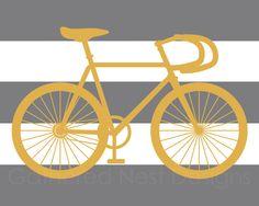 Striped Bicycle Art Print $16.00, via Etsy.