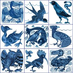 From top left: Pelican, diving swallow, eagle and snark, grebe, fishing kingfisher, subtle peacock, owl and rat, hoopee, Art Nouveau Dodo. William De Morgan blue and white birds. from WilliamMorrisTile.com