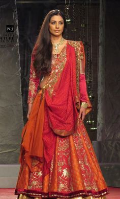 Tabu, walking the ramp for designer Anju Modi on the first day of the Delhi Couture Week (DCW) 2013. #India #Fashion #Bollywood
