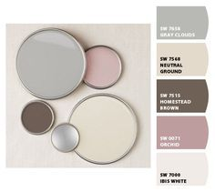 Paint colors from Chip It! by Sherwin-Williams.....Not a fan of the pink but love the others. Taupe Color Schemes, Wall Colors, Paint Colors, Colours, White Walls, Eyeshadow, Sweet Home, Small Spaces, Painting