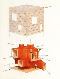 architectural drawings Atelier Bow Wow, featured in Japan Architect 1995 - Architecture Graphics, Architecture Drawings, Concept Architecture, Interior Architecture, Building Architecture, Landscape Architecture, Building Design, Bow Wow, Fujimoto Sou