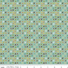 Teal Red Green and Brown Cross Hatch Tic Tac Cotton Fabric, Giraffe Crossing By The Riley Blake Designers, Tic Tac Print in Teal, 1 Yard